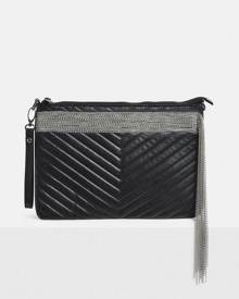 Missguided Faux Leather Quilted Chain Fringe Clutch Bag
