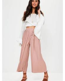Missguided pink pleated skinny tie belt culottes