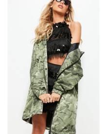 Missguided Jacquard Camo Parka Jacket