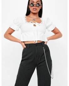Missguided Lace Trim Gathered Hem Crop Top