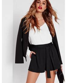 Missguided Waist Detail Crepe Tailored Shorts Black