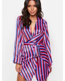 Missguided Stripe Satin Kimono Shift Dress
