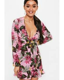 Missguided Wrap Front Ruffle Mini Dress