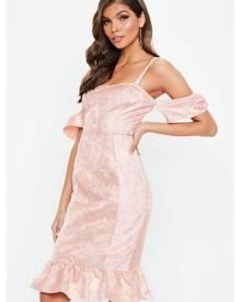 Missguided Frill Peplum Lace Detail Midi Dress