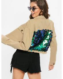 Missguided Sequin Back Cropped Trucker Jacket