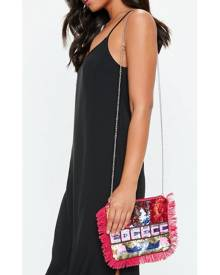 Missguided Sequin Beaded Fringe Clutch Bag