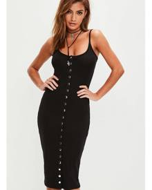 Missguided Strappy Ribbed Popper Midi Dress