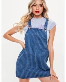 Missguided Blue Pinstripe Pinafore Denim Dress