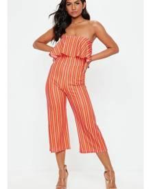 Missguided Bandeau Stripe Culotte Playsuit