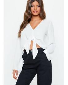 Missguided V Neck Tie Blouse
