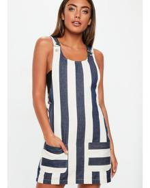Missguided Blue Striped Denim Pinafore Dress