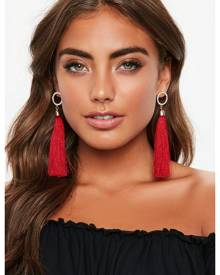 Missguided Diamante Circle Red Tassel Drop Earrings