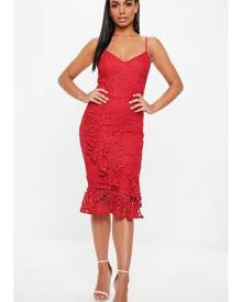 Missguided Lace Frill Wrap Detail Midi Dress