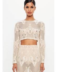 Missguided Nude Lace Long Sleeve Crop Top