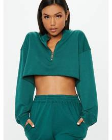 Missguided Boxy Cropped Zip Front Sweatshirt