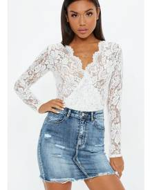 Missguided Sheer Lace Deep Plunge Wrap Over Bodysuit