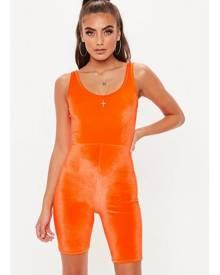 Missguided Orange Velour Unitard
