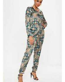 Missguided Printed Satin Boiler Suit