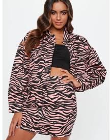 Missguided Zebra Print Denim Skirt
