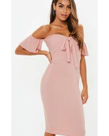 Missguided Rose Pink Tie Front Bardot Midi Dress