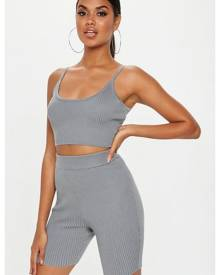 Missguided Strappy Knitted Ribbed Crop Top