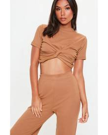 Missguided Ribbed Knot Front Top