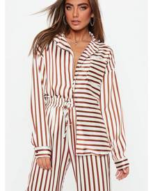 Missguided Striped Oversized Satin Shirt