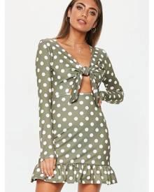 Missguided Polka Dot Ruffle Hem Dress
