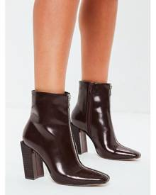 Missguided Feature Heel Full Zip Ankle Boots