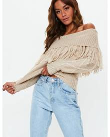 Missguided Bardot Cable Knit Jumper