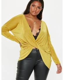 Missguided Size Yellow Drape Front Slinky Top