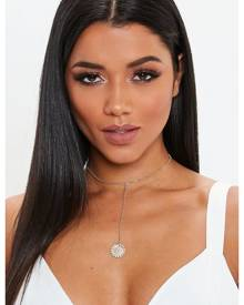 Missguided Look Diamante Coin Choker Drop Necklace