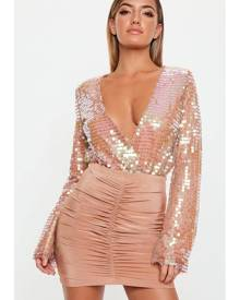 Missguided Sequin Wrapover Bodysuit