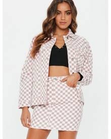 Missguided Checkerboard Oversized Denim Jacket