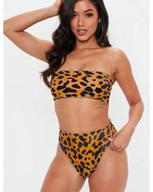 Missguided Leopard Bandeau Bikini Top