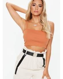 Missguided Straight Neck Strappy Crop Top