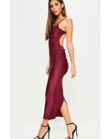 Missguided Ribbed Backless Ruched Back Midi Dress