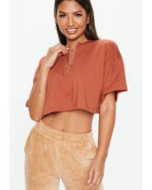 Missguided Zip Front Boxy Crop Top