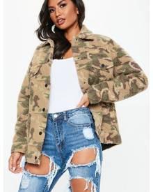 Missguided Oversized Camo Print Teddy Jacket