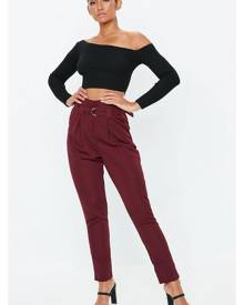 Missguided Burgundy Paperbag Waist Cigarette Trousers