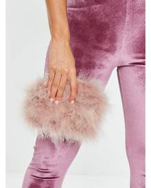 Missguided Round Feather Clutch Bag