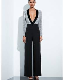 Missguided Silver Sequin Beaded Plunge Bodysuit