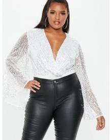 Missguided Size White Sequin Plunge Bodysuit