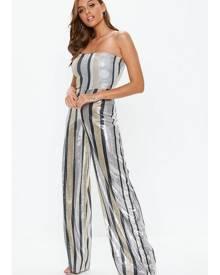 Missguided Multi Stripe Sequin Bandeau Playsuit