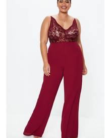 Missguided Size Burgundy Lace Plunge Wide Leg Playsuit