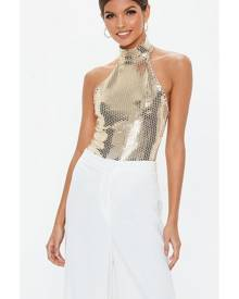 Missguided High Neck Sequin Bodysuit