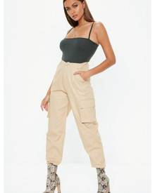 Missguided Sand Plain Cargo Trousers