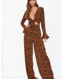 Missguided Brown High Waist Wide Leg Tiger Print Trousers