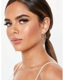 Missguided Gold Look Pink Enamel Rose Hoop Earrings