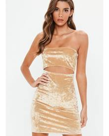 Missguided Crushed Velvet Bandeau Cut Out Bodycon Dress